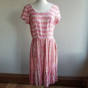 1950s Unlabeled Pink Floral Party Dress